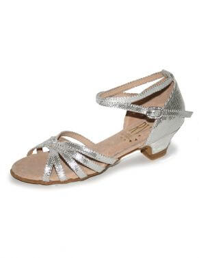Girls and Ladies Silver Low Heel Ballroom Salsa Shoes - Roch Valley - Ilena